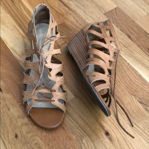 Shoes - Tan Cut-Out Laced Sandals